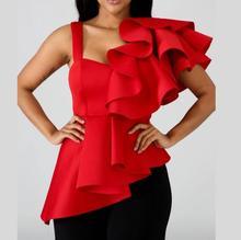 Femmes Blouse hauts chemises mode dames Sexy Peplum rouge volants manches irrégulières mince fête porter 2019 été Blouse débardeur EN