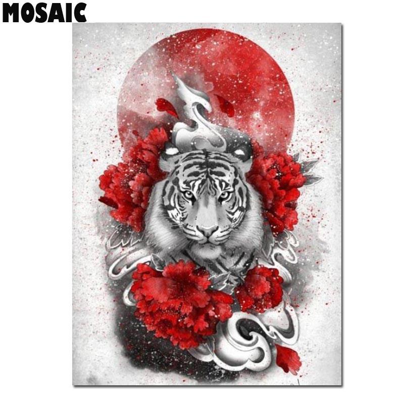 5d pintura diamante tigre japonês sol diamante bordado ponto cruz quadrado completo/redondo daimond pintura animal mosaico presente