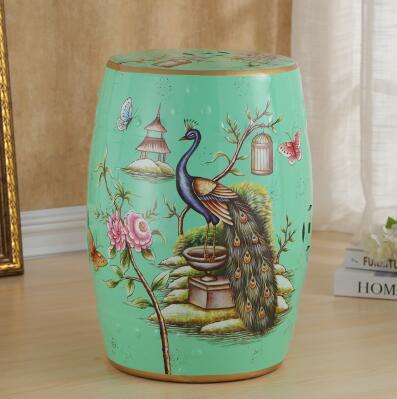 Taburete de tambor rústico de cerámica de moda nuevo estilo chino cambiar un taburete de zapato decoración Pavo Real