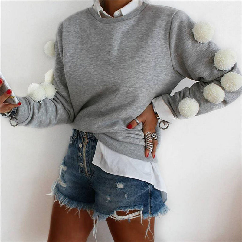 Otoño 2019 sudaderas con capucha de manga larga para mujer Sudadera con capucha Jersey Tops Casual suelto Jumper Polluvers Plush Ball Coat US otoño
