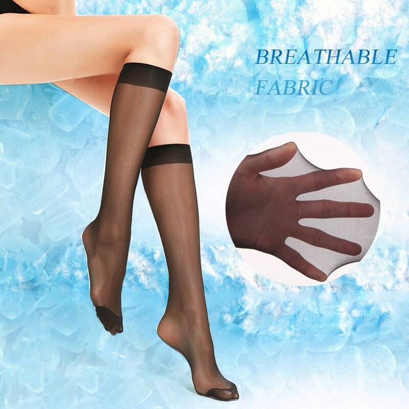 4Pair Breathable Ultra-thin Long Socks Women Sexy Short Socks Summer Fashion Solid Breathable Transparent Knee Socks