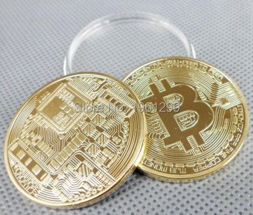 Envío gratis 1 x chapado en oro moneda Bitcoin colección monedas Bitcoin regalo de colección de arte física moneda