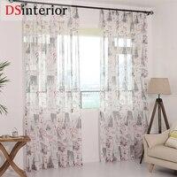 DSinterior modern Paris design tulle sheer curtain for bedroom or living room window