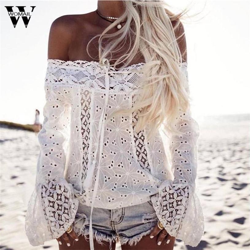 Womail, blusa sexy con hombros descubiertos, camisa de verano de manga larga de encaje suave, blusas elegantes para mujer, blusas blancas, regalo 2017 #20