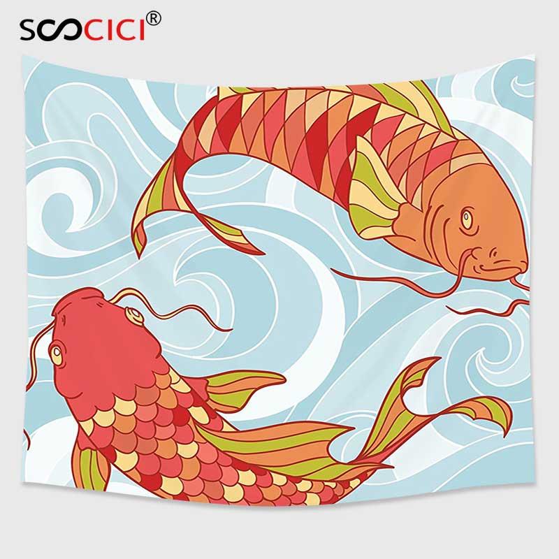 Tapiz para colgar en la pared SCOCICI Cutom, Colección colorida de decoración de peces dibujada a mano con olas de mar y Koi, diseño colorido de peces orientales