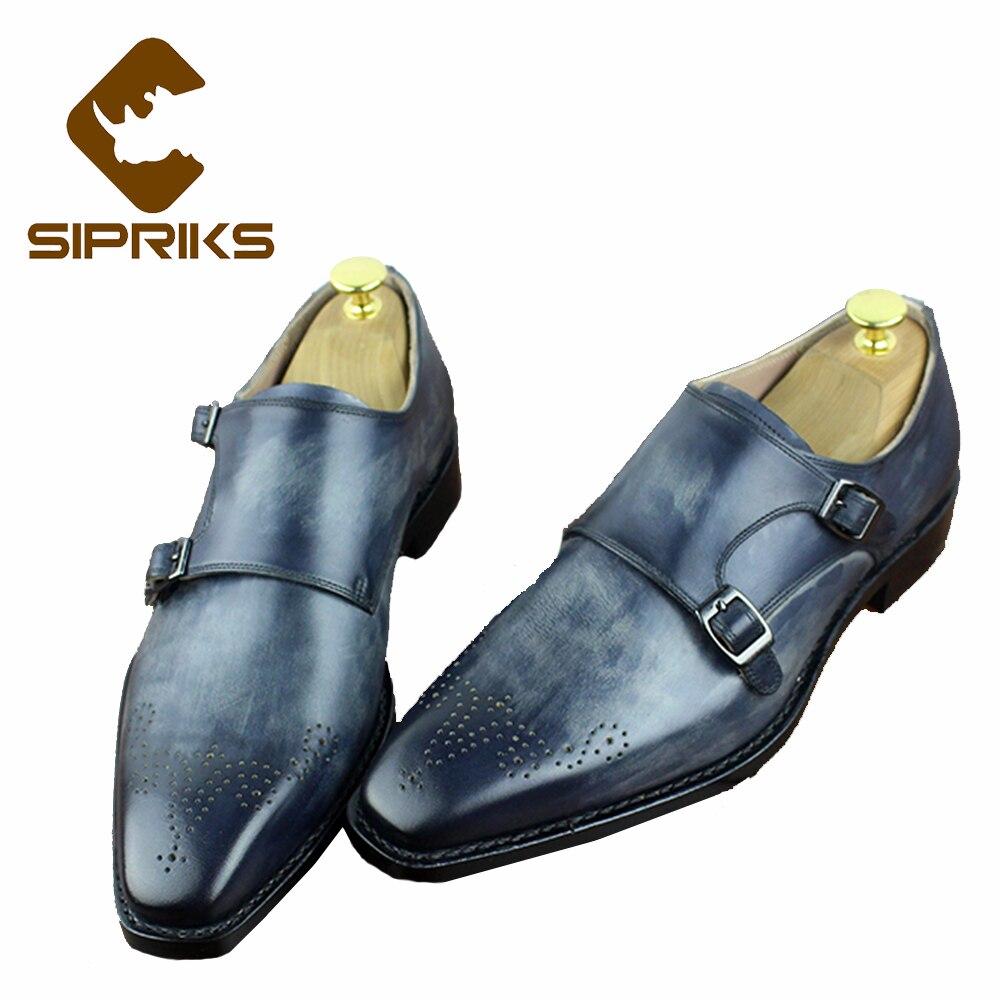Sipriks luxo masculino costura welted vestido sapatos cinza duplo monge tiras praça toe formal sapatos de smoking ternos italianos sapatos masculinos