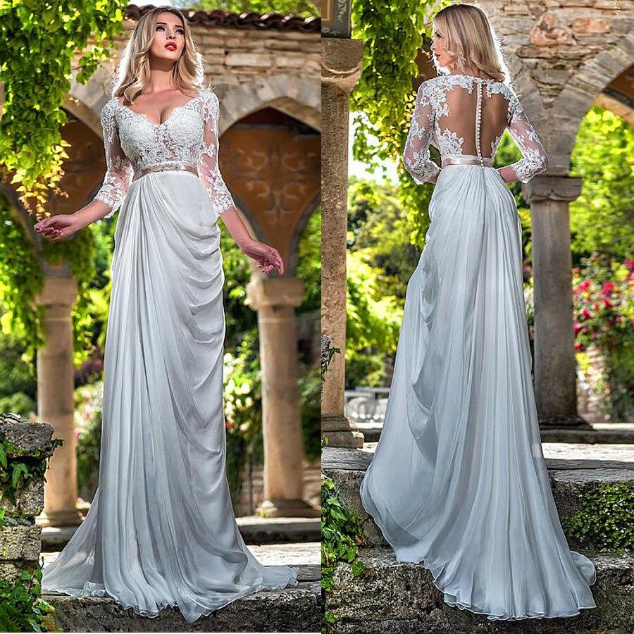 فستان زفاف شيفون حريري رشيق ، ياقة على شكل v ، خط a ، دانتيل ، أكمام ثلاثة أرباع ، فستان زفاف