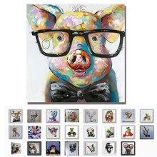 Mintura Handgemalte Moderne Cartoon Tier Ölgemälde Auf Leinwand Piggy Tragen Gläser Wand Kunst Für Wohnzimmer Dekoration