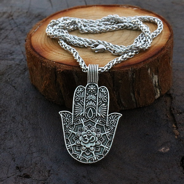 10 pçs pingente hamsa, yoga budismo neckalce mandala flor om jwelry buda aum símbolo de proteção e símbolo de sorte