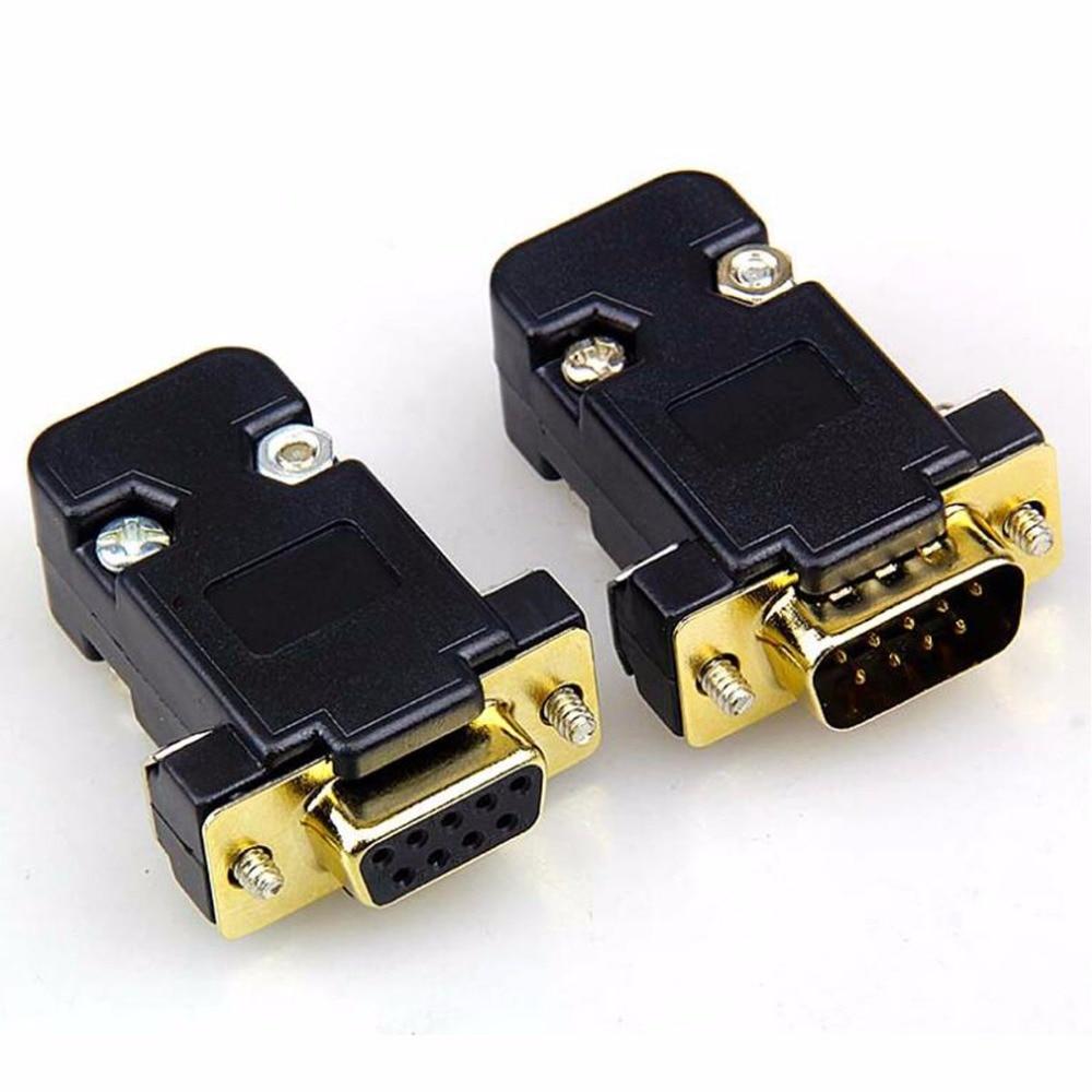 5set chapado en oro DB9 RS232 serie macho COM DB9 conector de clavija tipo D de 9 pines interfaz de la computadora