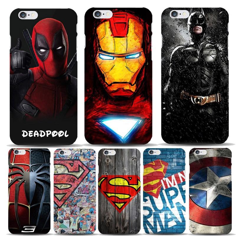 Marvel Hero Captain America Shield Deadpool Superman Case Capinhas For Apple iPhone 8 7 6 6S Plus 5S SE Slim Hard Covers Batman