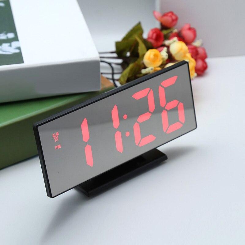 Despertador led digital relógio multifunções espelho snooze exibição tempo noite lcd mesa luz escritório cabo usb relógio digital