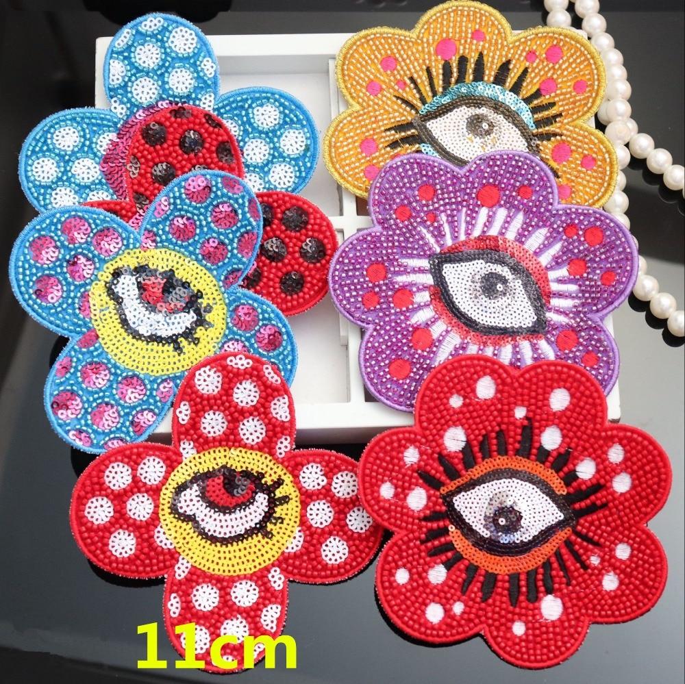 Moda flor olho boca casaco remendo beadd lantejoulas bordado acessórios de vestuário applique flor costura remendos