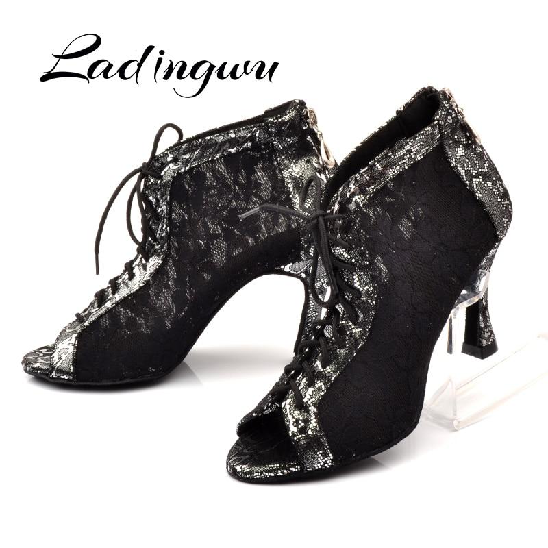 Ladingwu Latin Dance Shoes Wonen Black White Lace Dance Boots Ladies Comfortable Ballroom Paty Dancne Shoes Salsa Shoes Woman