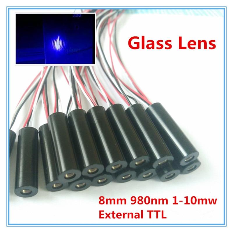Внешний TTL 8 мм 980nm 1mW 5mW 10mW стеклянный объектив IR Dot лазерный модуль промышленного класса APC драйвер