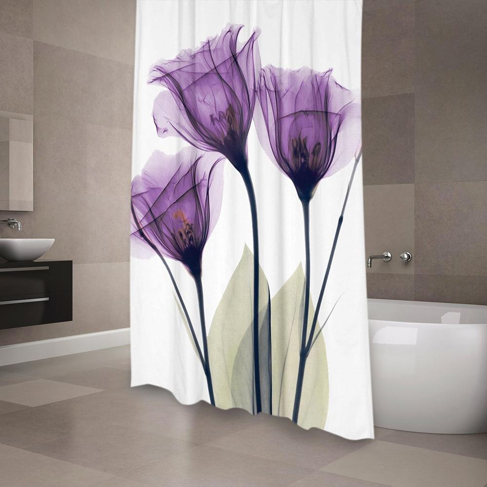 3D Printed Lotus Series Shower Curtains Purple Flower Waterproof Mildew Proof Thickened Bath Curtains for Bathroom