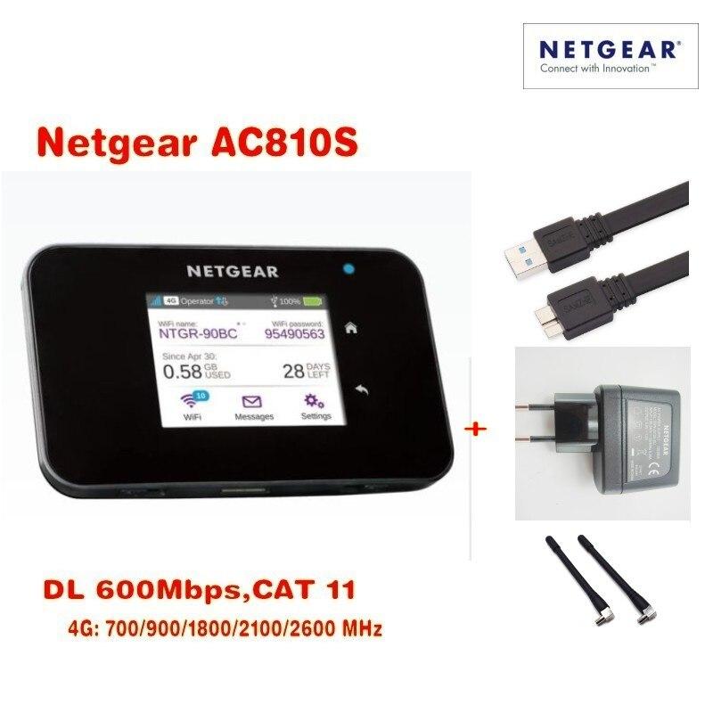 Con la caja original Netgear Aircard AC810S 810 Cat11 600Mbps 4GX avanzada III 4G LTE MiFi Mobile Hotspot