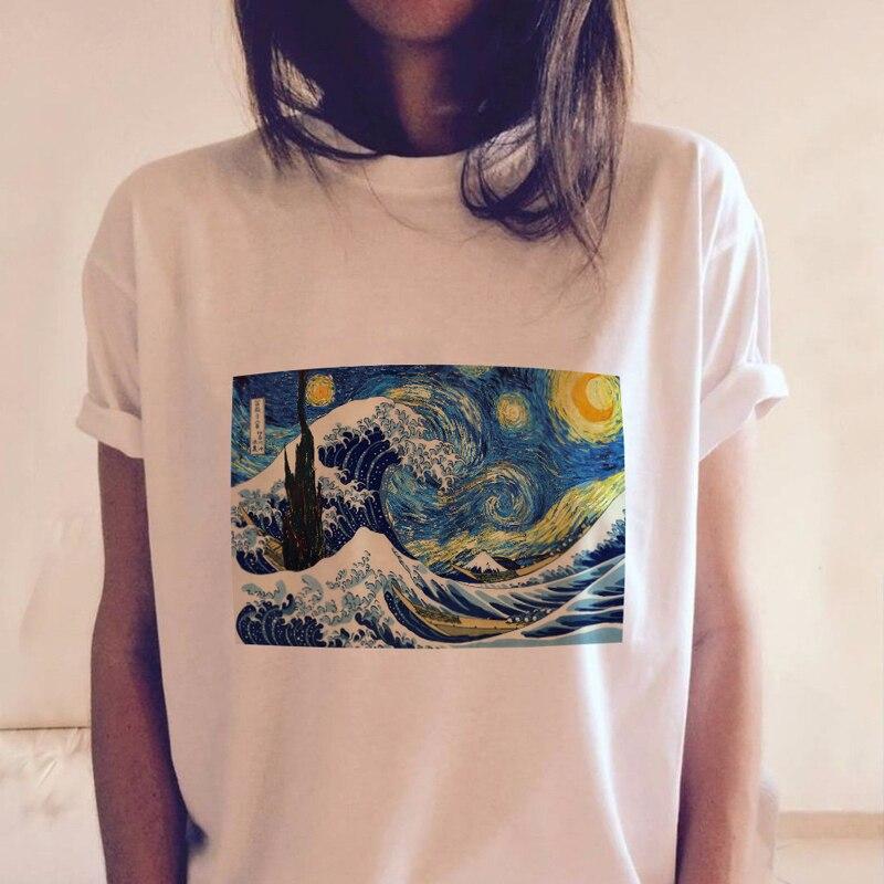 T-shirts Ukiyo-e Vincent Van Gogh Funny White Tshirts Harajuku 2018 Women Short Sleeve Graphic Tees Tops Vintage Japanese