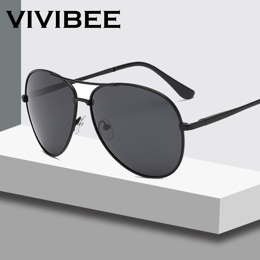 VIVIBEE Classical Men Aviation Polarized Metal Frame Sunglasses Black Women Style Mens Polarised Sun