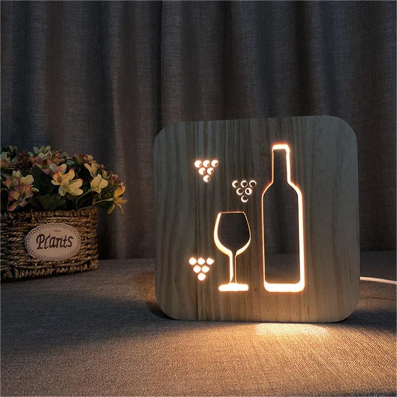 Winne botella de madera 3D LED ahuecado luz de noche cálido blanco USB fuente de alimentación como fiesta hogar Bar Club decoración regalo de aniversario