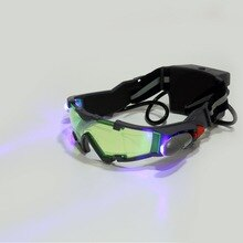 1 pièces lunettes yeux vert lentille réglable bandeau élastique Vision nocturne 25 pieds lunettes LED lumières sombres lunettes livraison directe