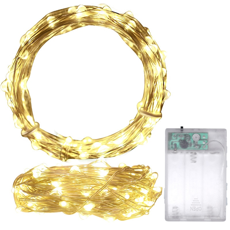 1m 2m 5m 10m 20m copper silver wire led string fairy lights holiday lighting for christmas tree garland wedding party decoration LBTFA 2M 3M 5M 10M Copper Wire LED String Lights Holiday Lighting Fairy Lights Garland Christmas Tree Wedding Party Decoration