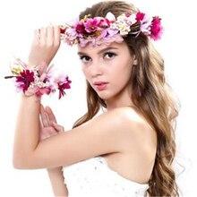 Guirlande couronne à fleurs pour femmes   Bandeau élégant, couvre-chef, couronne fleurie
