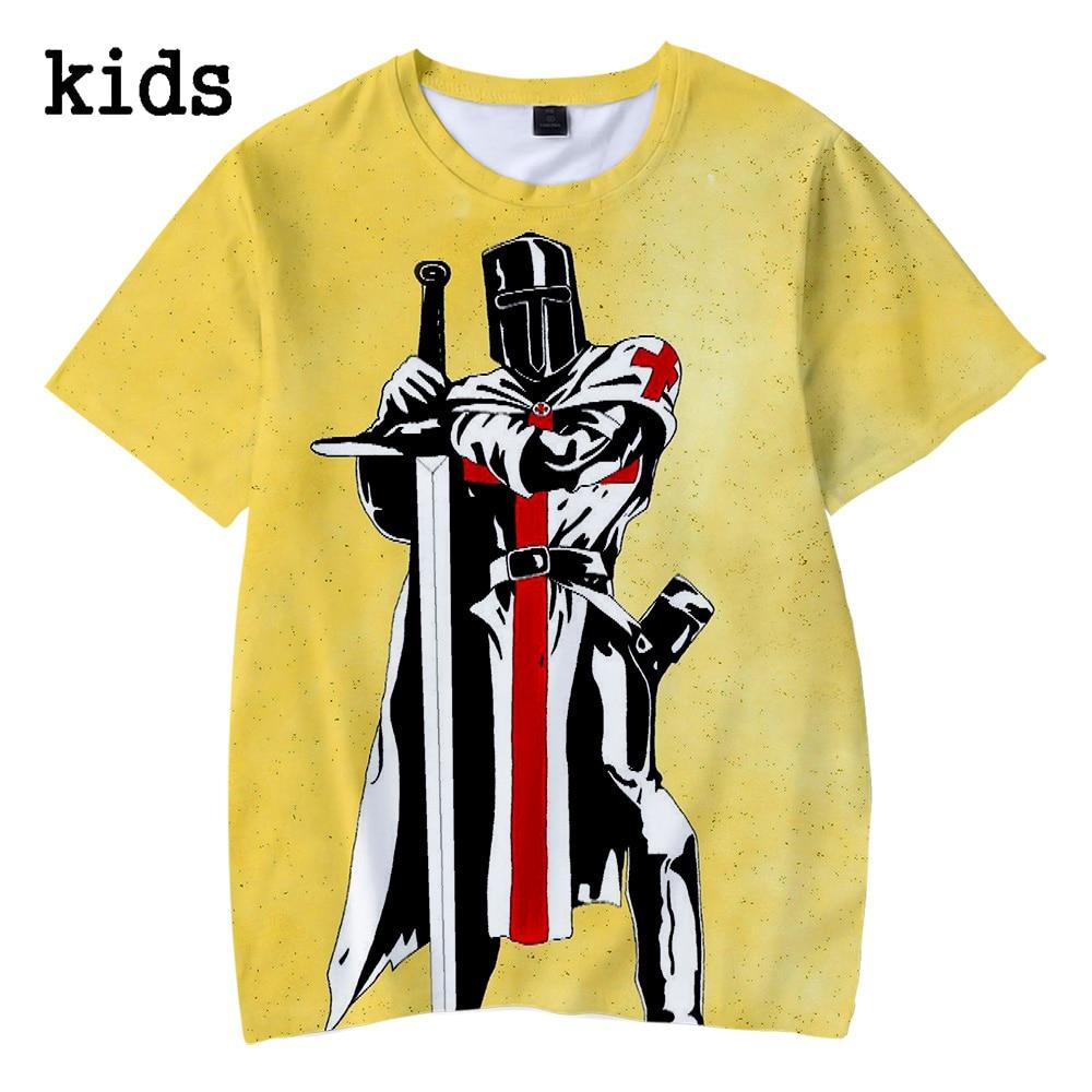 Camiseta de los caballeros de la película templar de verano de 2019, Camiseta con estampado 3d para niños y niñas, ropa para niños de 4, 5, 6, 7, 8, 9, 10 y 12 años