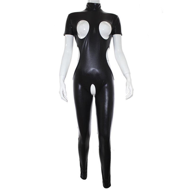 Sexy Wet Look Faux Leder Öffnen Brust Ouvert Overall Cupless Frauen Body Catsuit Herrin Cosplay Fetisch Kostüm