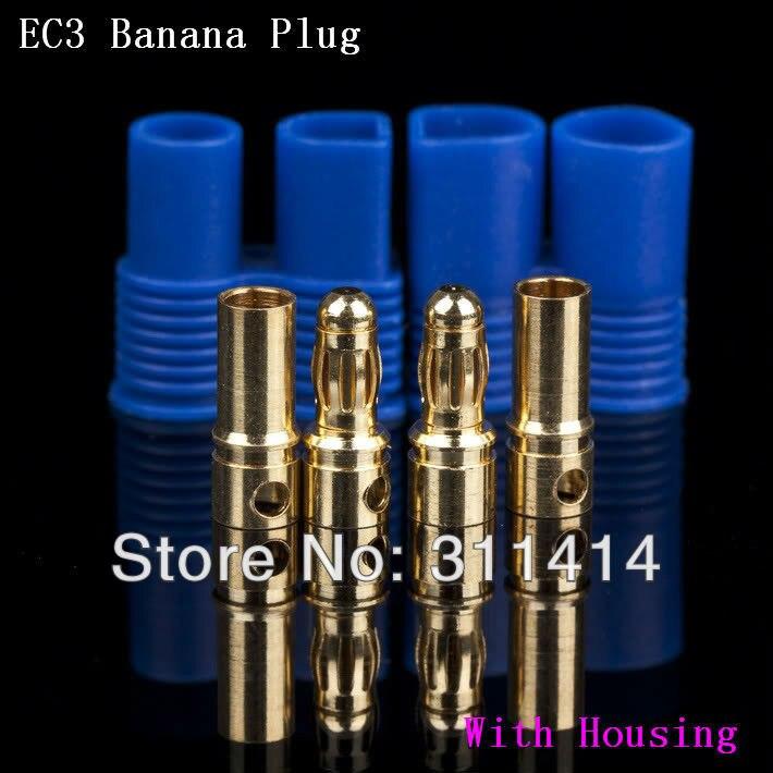 20 pares EC3 plugue banana feminino masculino conector bala com habitação para RC ESC bateria LIPO Motor