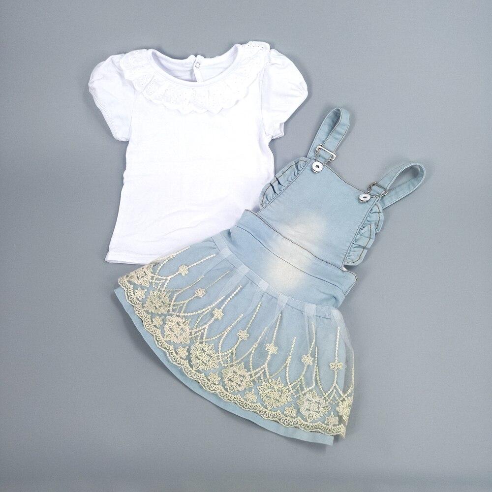 Chumhey faldas con tirantes de algodón para bebé de 100%, 2 piezas, mono de verano para niñas, camiseta de manga corta de algodón blanca, ropa infantil