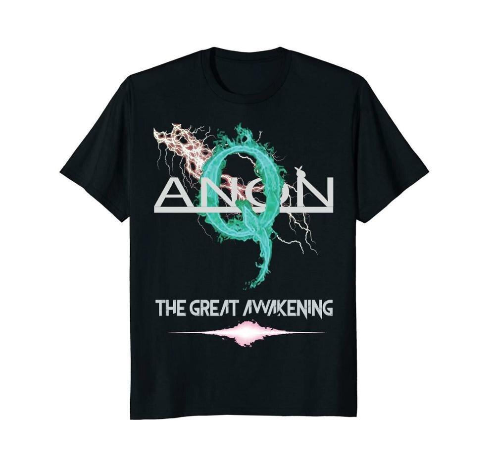 Qanon el gran despertar Storm Rabbit negro 2019 moda de manga corta negro camiseta impresa redondo hombres hecho a medida camisetas