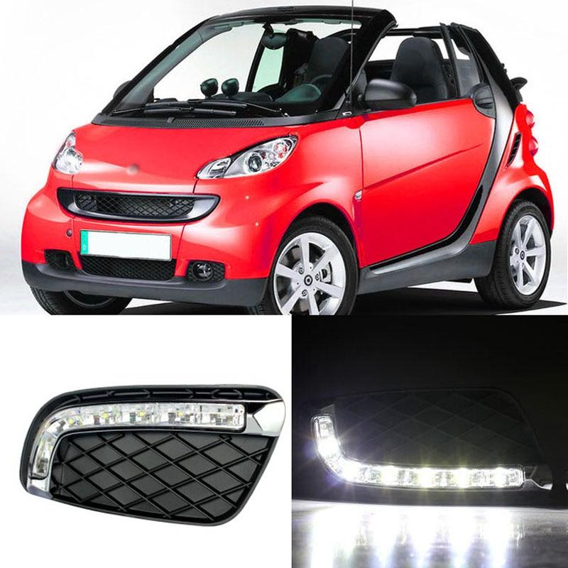 Ownsun nouvelle mise à jour LED feux de jour DRL avec couvercle de feu de brouillard noir pour Benz Smart Fortwo 2008-2011