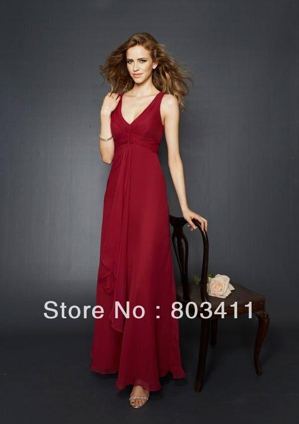 Envío Gratis, lo último, precioso vestido de dama de honor de gasa con escote en V de línea A