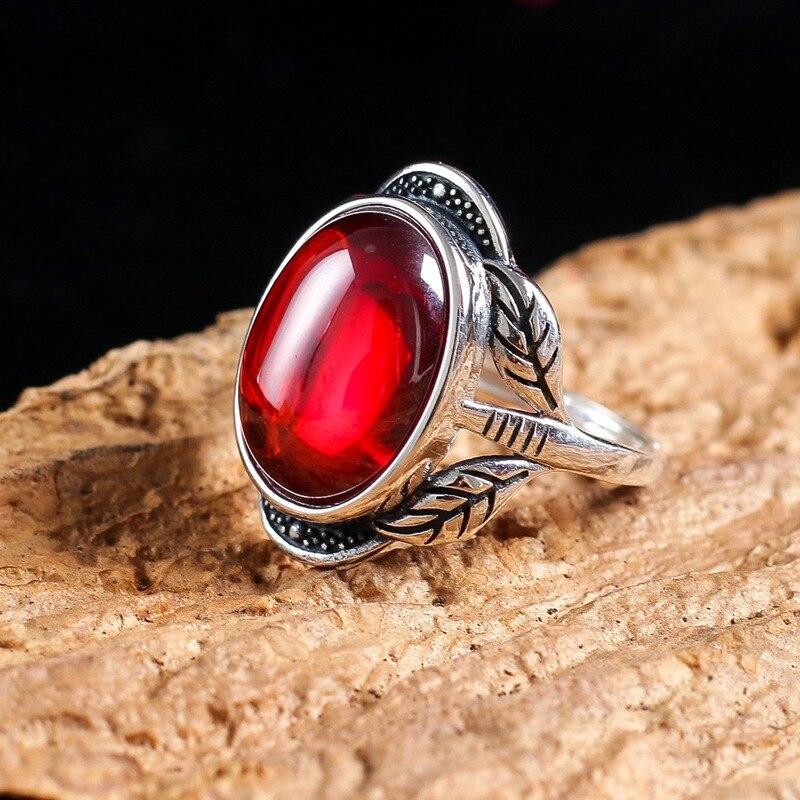 S925 чистое серебро Ретро мода атмосфера гранат кольцо открытие листьев бутон Замена для женщин