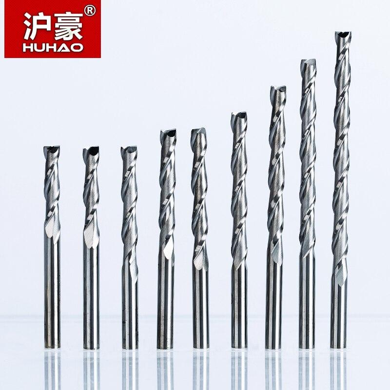 HUHAO 5 unids/lote 3.175mm fresadora cortador 2 flautas espiral con hoja CEL 3-42mm fresa final CNC fresa para herramienta de enrutador de carburo de madera