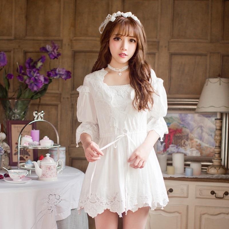 Princesa doce lolita blusa Doces proteção Uv chuva doce chiffon renda Branca princesa blusa C16AB6096-1