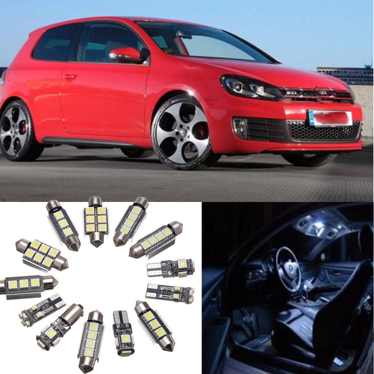 JX-LCLYL 13 Uds blanco luz LED para Interior de coche bombilla Kit para VW Golf 6 MK6 GTI 2010-2015