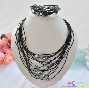 wholesale 15row 13mm black rice pearl black leather necklace & bracelet
