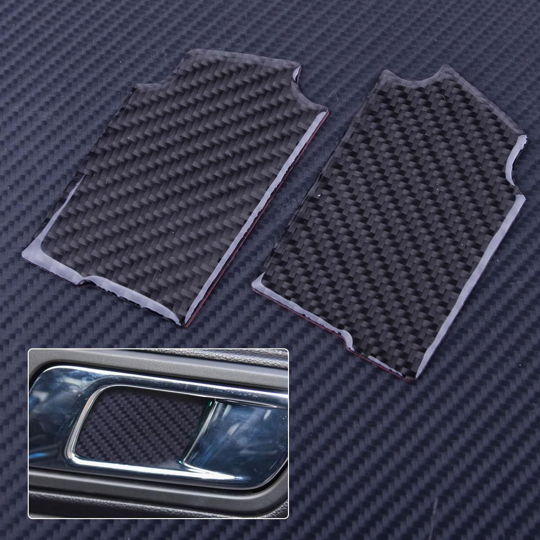 2 uds, manija de puerta interior de fibra de carbono negra para coche, tapa de Panel de parche, pegatina decorativa para Ford Mustang 2015 2016 2017