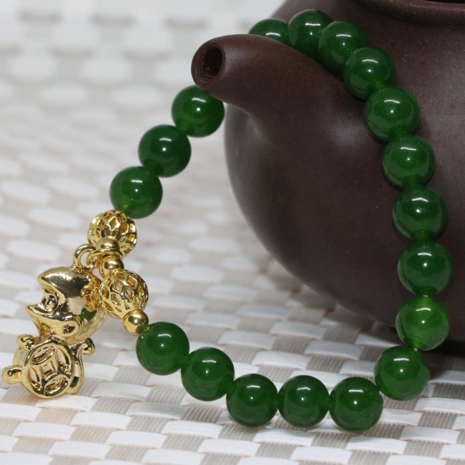 Натуральный Тайвань зеленый камень нефрит халцедон strand браслеты 8 мм круглые бусины Золотой цвет кулон обезьянка ювелирные изделия 7,5 дюйма...