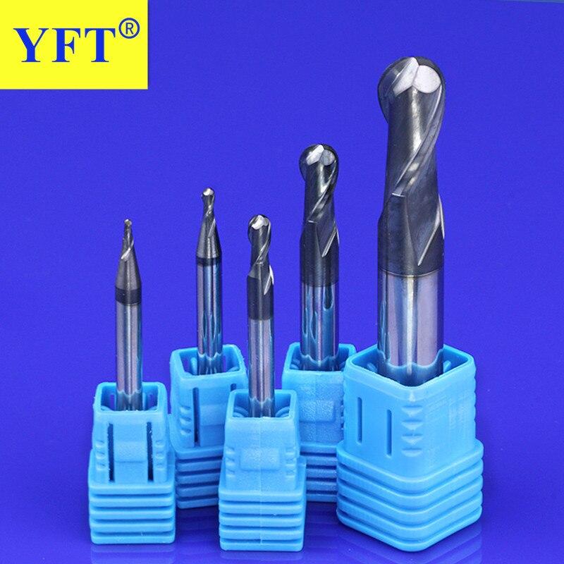 Fresa YFT de tungsteno de acero R0.5-R10mm fresa de extremo esférico CNC de 45 grados