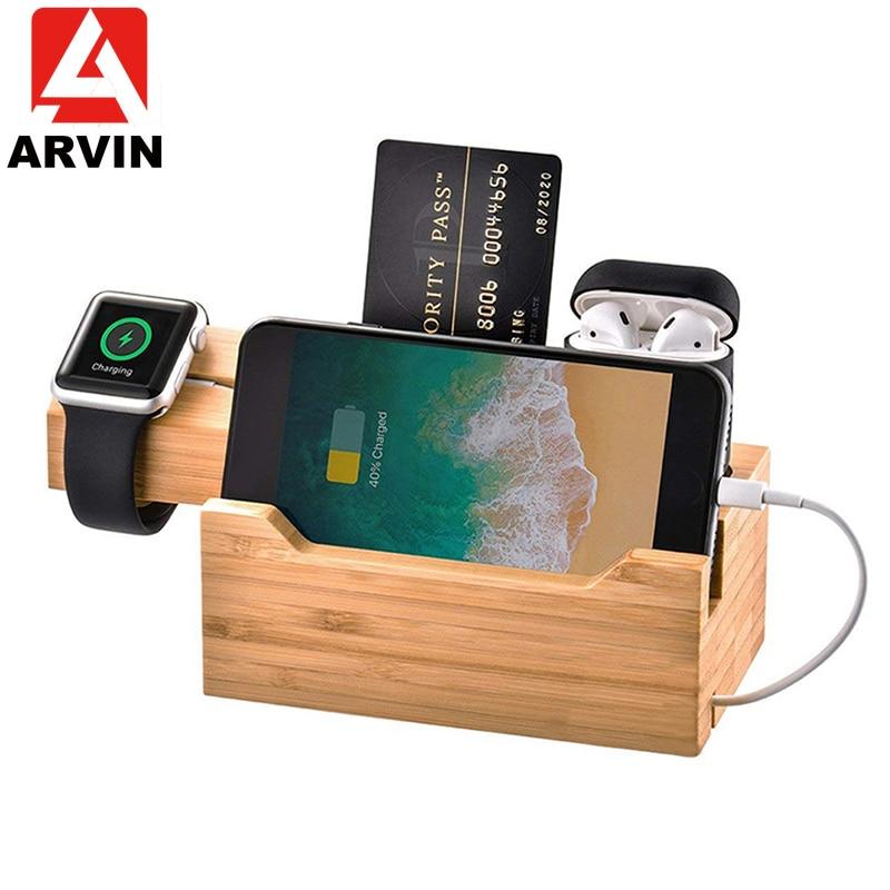 ARVIN 3 en 1 de madera de bambú de muelle de carga Multi-USB cargador estación soporte titular para iPhone X 8 Apple Watch Airpod Samsung Bracket