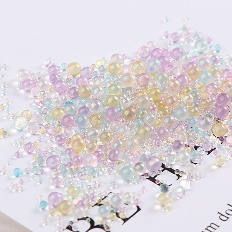 10 g/paquete Mini cuentas de bola de burbujas 0,4-3mm Cuentas pequeñas mezcladas para globo de vidrio silicona molde de relleno encantos DIY uñas artesanía decoración del hogar