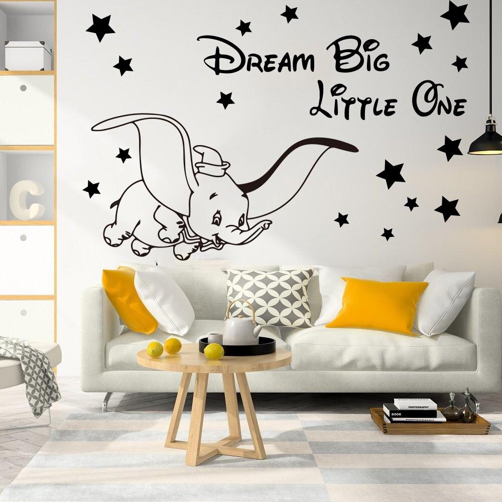 Мультяшная мечта большой маленький летающий слон Дамбо Звездная Наклейка на стену детская комната Dumbo животный вдохновляющий Цитата стике...