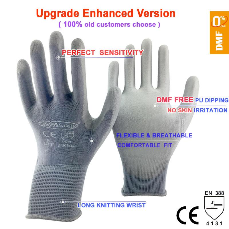 NMSafety-guantes de trabajo de alta calidad, 12 pares, PU, recubrimiento de Palma, Protector de seguridad