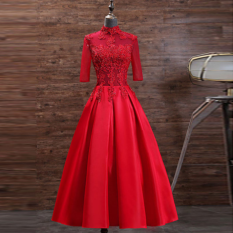 Tanpell Red Cocktail Dress  High Neck Appliques Beading Half Sleeves Zipper upWoman Party Gown Tea-Length Cocktail Dress фото