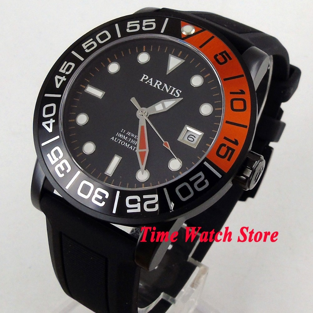 Parnis 42mm 10ATM Miyota reloj automático para hombres carcasa de PVD esfera negra luminoso zafiro cristal correa de goma 408