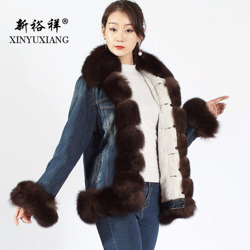 XINYUXIANG 2018 cuello de piel de zorro real chaquetas moda Casual invierno grueso cálido vaquero corto chaqueta botón abrigos 59A