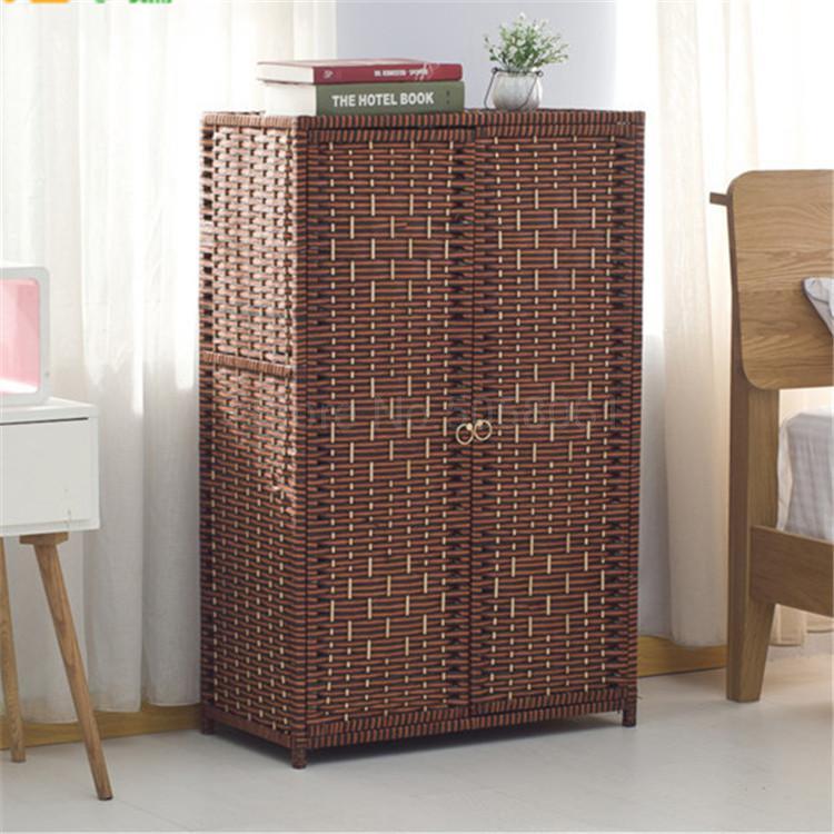 Paja nuevo log ratán Zapatero armario mesita de noche simple de madera sólida porche multi-capa gabinete rack